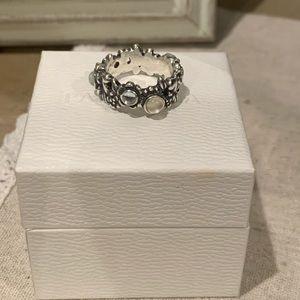 Pandora RETIRED Floral Moonstone/Topaz ring